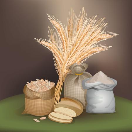 Illustration with rye foodstuff
