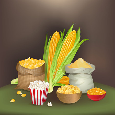 foodstuff: Illustration with corn foodstuff Illustration