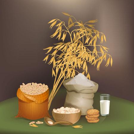 Illustration with oats foodstuff Illustration