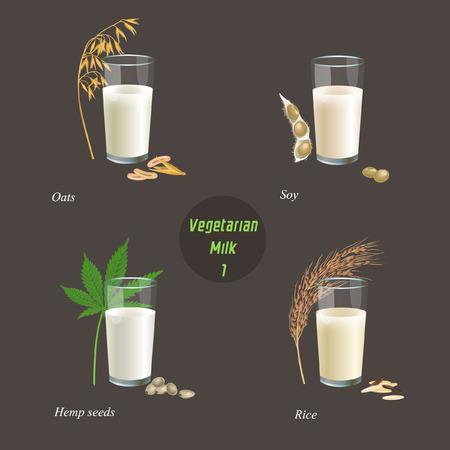 There are glasses with milk from oats, soy, hemp seed and rice