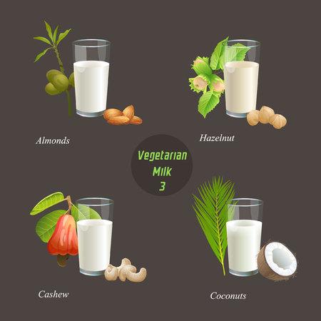 アーモンド、ヘーゼル ナッツ、カシュー ナッツ、ココナッツ ミルクとメガネがあります。