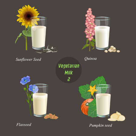 There are glasses with milk from sunflower seeds, quinoa, flax seed and pumpkin seed Illustration