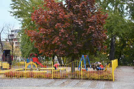 Wroclaw, Poland, Oktober 12, 2016 - Playground in park on Tumski Island in the autumn day