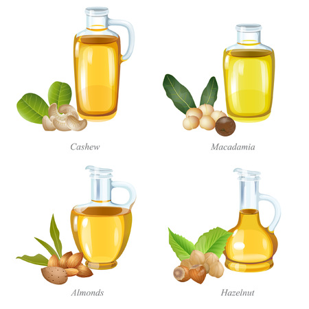 There are cashew, macadamia, almond and hazelnut oil bottles