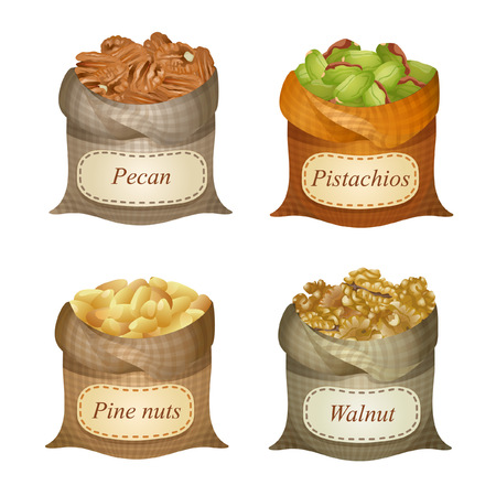 Four untied sacks with pecan, pistachios, pine nuts, walnuts and names on them