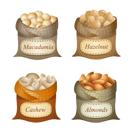 Four untied sacks with macadamia, hazelnut, cashew, almonds and names on them Illustration