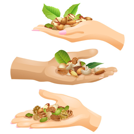 Hands of Caucasian people with batches of different nuts