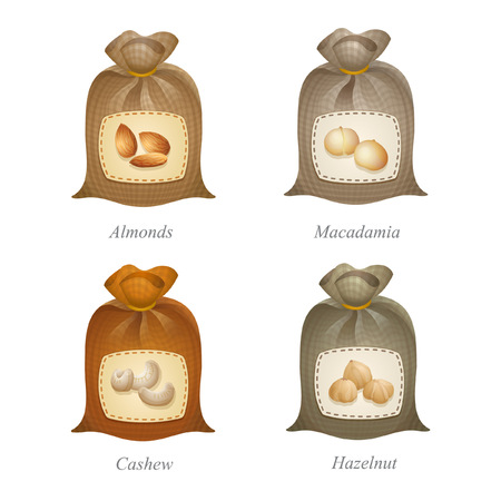 Four tied sacks with cashew, macadamia, almonds, hazelnut icons and names under them Illustration