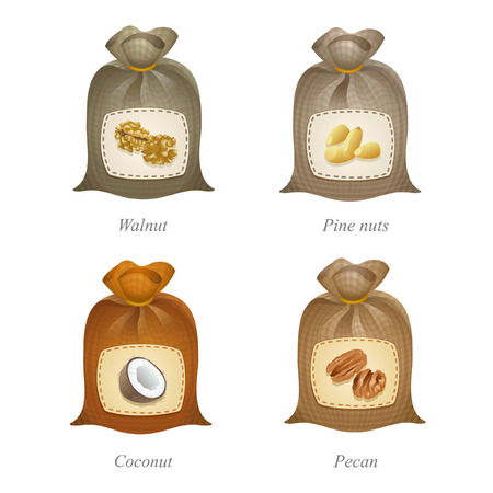Four tied sacks with walnut, pine nuts, coconut, pecan icons and names under them