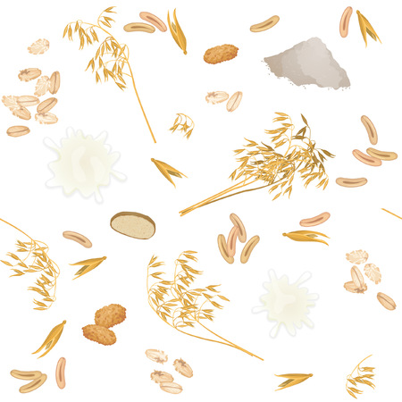 Pattern with oat ears, milk, bread, cookies, grains, flour and flakes. Illustration