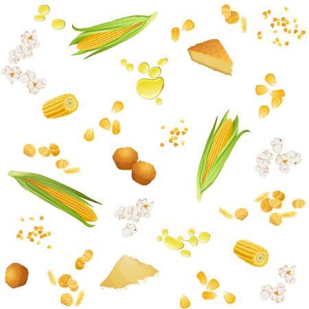 Seamless pattern with corn ears, grains, oil, pie, cookies, grits, flour, popcorn and flakes