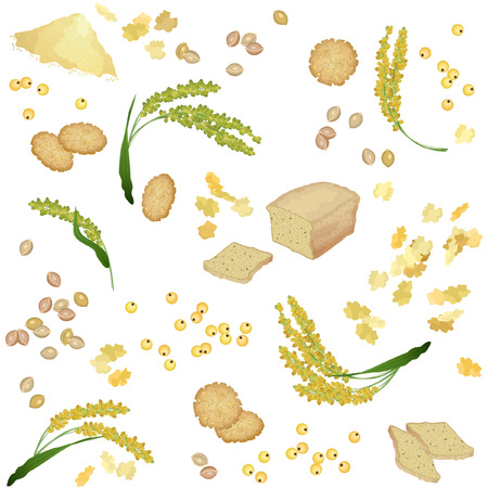 Seamless pattern with millet ears, bread, flour, grains, flakes and cookies