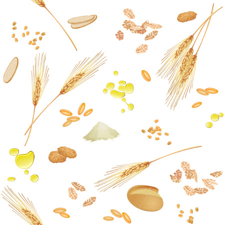 Seamless pattern with wheat ears, grains, grits, oil, bread, flakes, cookies and flour