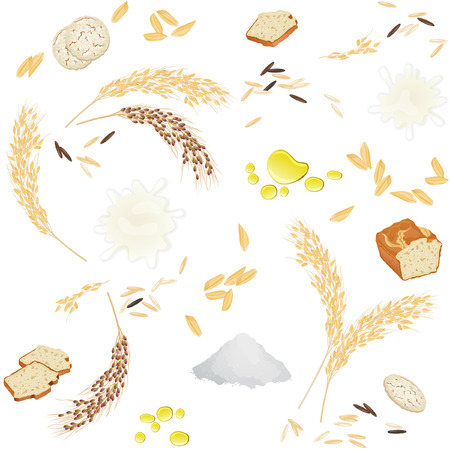Seamless pattern with rice ears, flour, grains, milk, oil, bread and waffles Illustration