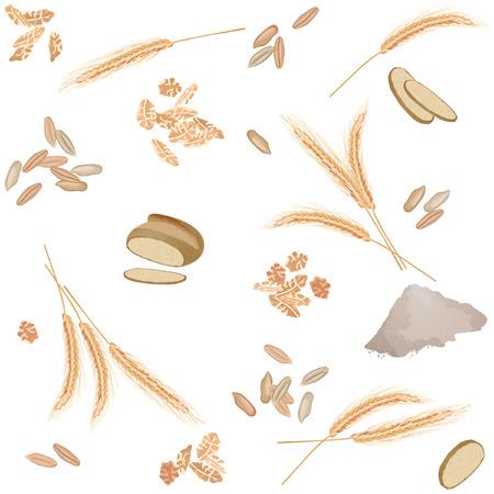 Naadloos patroon met rogoren, granen, vlokken, brood en bloem