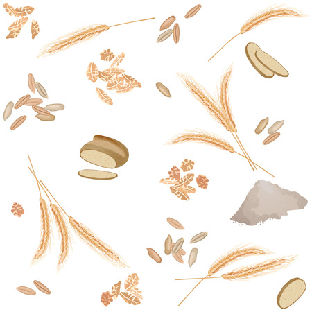 Seamless pattern with rye ears, grains, flakes, bread and flour Ilustração