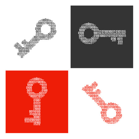 Four positions of keys filled in real binary symbols vector illustration.