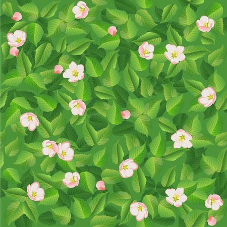 Seamless pattern of spring green leaves with flowers vector illustration. Illustration