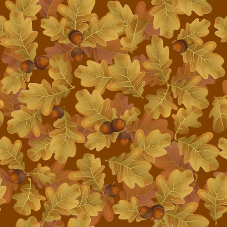 Seamless pattern of autumn leaves with brown acorns vector illustration.