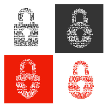 Four different locks filled in real binary symbols vector illustration. Illustration