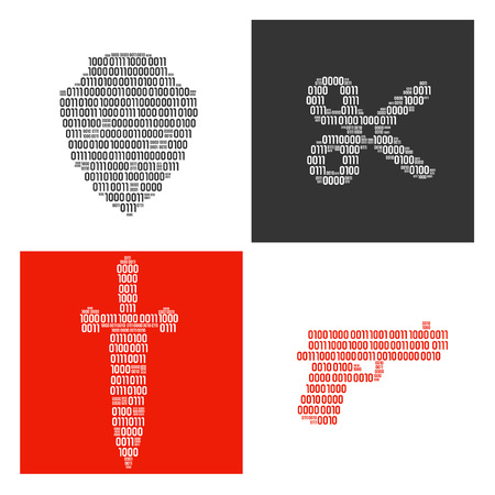 Shield, sword, scissors and gun filled in real binary symbols vector illustration. Ilustração