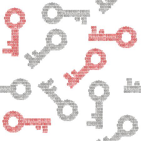 Seamless pattern of keys filled in binary symbols vector illustration.
