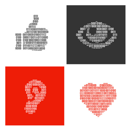 Hand, eye, ear and heart filled in real binary symbols vector illustration.
