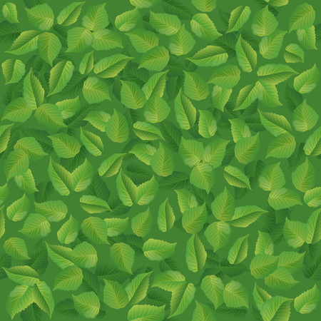 Seamless pattern of summer green leaves vector illustration.