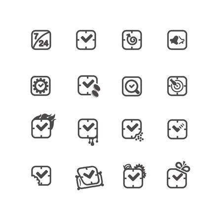 Square shaped time icons in line style