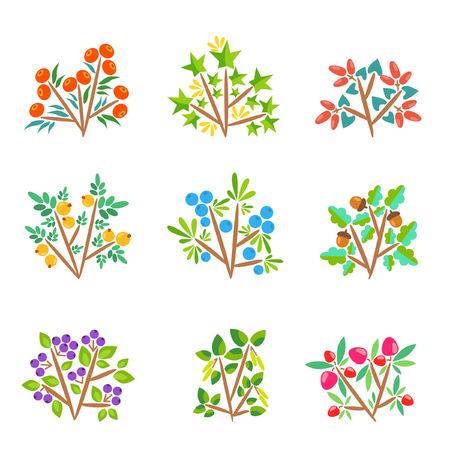 Nine cartoon bushes with bright berries Ilustração