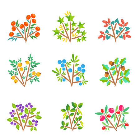 Nine cartoon bushes with bright berries Illustration