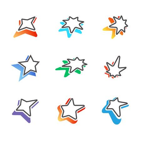 Star signs with colorful shadows Ilustração