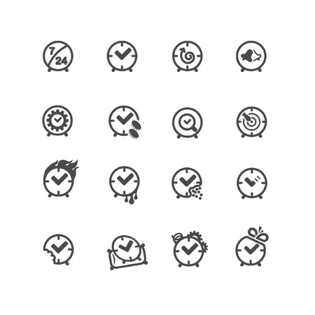 Round shaped time icons in line style Illustration