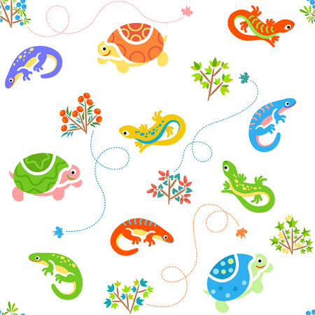 Cartoon pattern with lizards and turtles