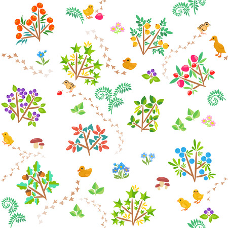 Cartoon pattern with berry bushes and chickens Ilustração