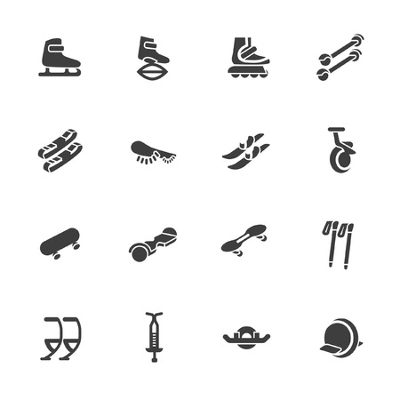 Equipments for walking, jumping and rolling icons Ilustração
