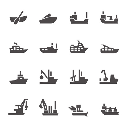 Cruise ship icons Illustration