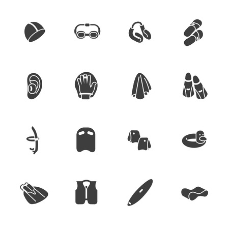 Accessories for swimming and water sports in glyph style