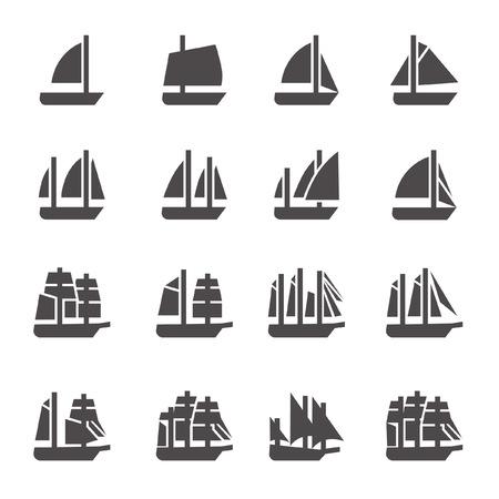 Icônes de voiliers dans le style de glyphe