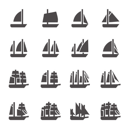 Icons of sailing ships in glyph style Illustration