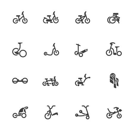 Wheeled vehicles in line icons. Illustration