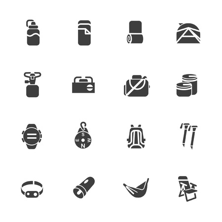 Equipments of travelers as glyph icons