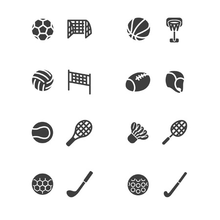 Sports equipments in glyph style