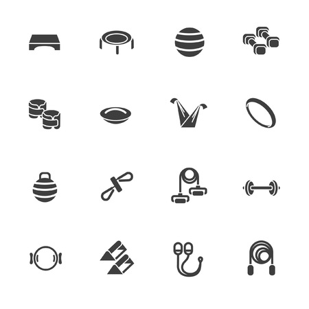 Gadget and accessories for body workout in glyph style Illustration