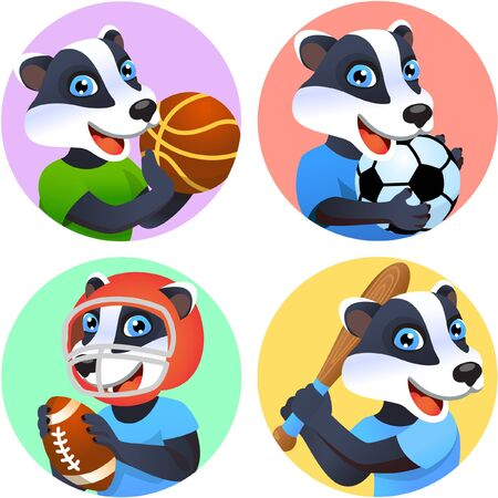 Sport emblems for basketball, soccer, American football and baseball with a wild badger in the t-shirt as a sportsman