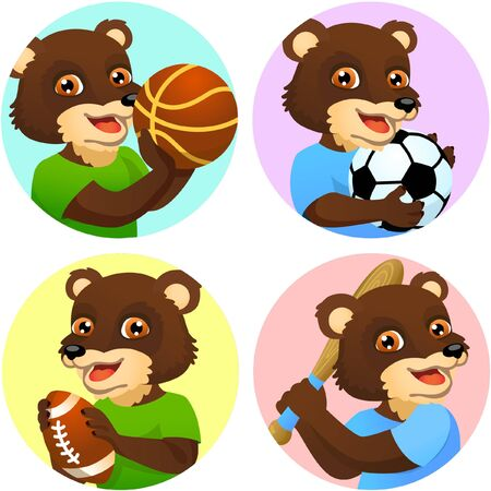 Sport emblems for basketball, soccer, American football and baseball with a wild grizzly bear in the t-shirt as a sportsman