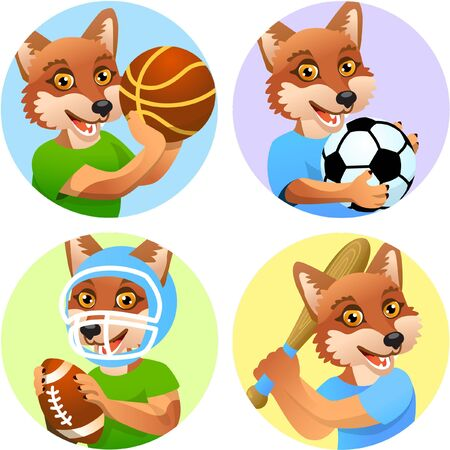 Sport emblems for basketball, soccer, American football and baseball with a wild wolf or coyote in the t-shirt as a sportsman