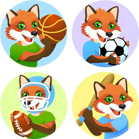 Sport emblems for basketball, soccer, American football and baseball with a wild fox in the t-shirt as a sportsman Vectores