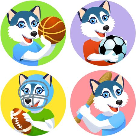 Sport emblems for basketball, soccer, American football and baseball with a husky dog in the t-shirt as a sportsman
