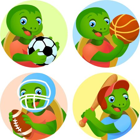 Sport emblems for basketball, soccer, American football and baseball with a turtle in the t-shirt as a sportsman